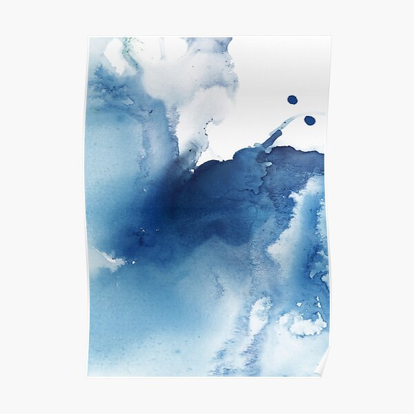 Indigo Blue Sea, Abstract Ink Painting Poster