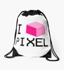 I Love Pixel Drawstring Bag