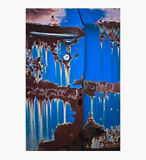 Dripping on Blue Photographic Print