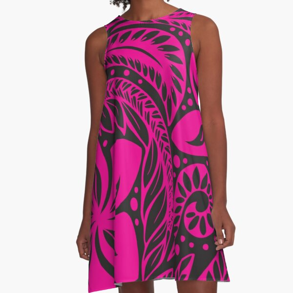 Pink Over Black Polynesian New Zealand Floral Tattoo  A-Line Dress