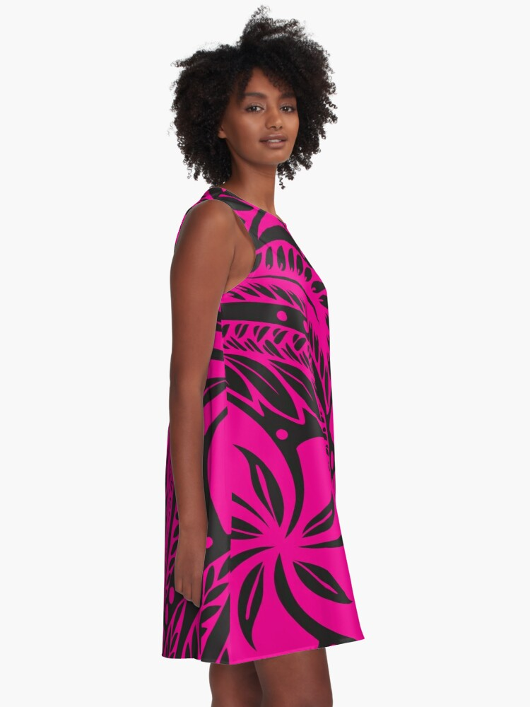 Alternate view of Pink Over Black Polynesian New Zealand Floral Tattoo  A-Line Dress
