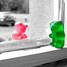 Green And Red Gummy Bear Love by BeckyCollins
