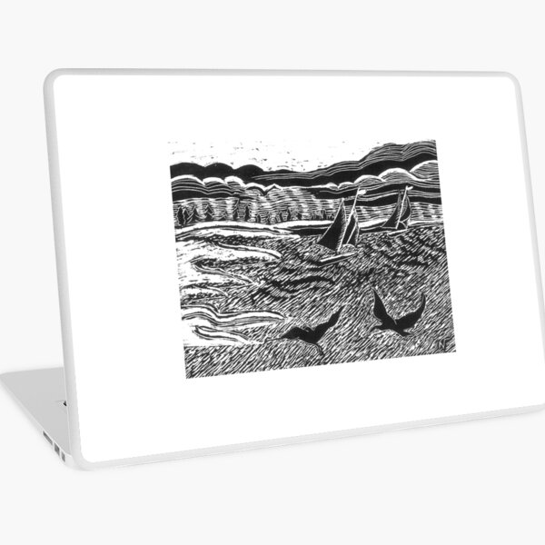 A windy day Sail black and white drawing Laptop Skin