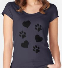 Puppy Paw Prints and Hearts Women's Fitted Scoop T-Shirt