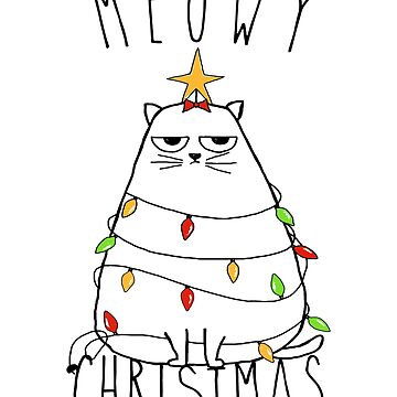 Funny Cat Meowy Christmas by Fabshop