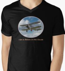 """Cool vintage retro biplane: """"Life is Better in the Clouds"""" aviation, flying Men's V-Neck T-Shirt"""
