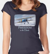 """""""Freedom in the Clouds"""" Patriotic USA biplane vintage  Women's Fitted Scoop T-Shirt"""