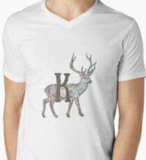 Deer with Letter K Men's V-Neck T-Shirt