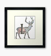 Deer with Letter L Framed Print