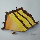Slice of Yellow Cake with Chocolate Frosting by Pamela Burger