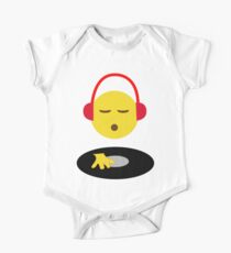 Emoji DJ Disc Jockey Scratch Vinyl Record Turntable Retro Design One Piece - Short Sleeve