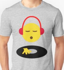Emoji DJ Disc Jockey Scratch Vinyl Record Turntable Retro Design Unisex T-Shirt