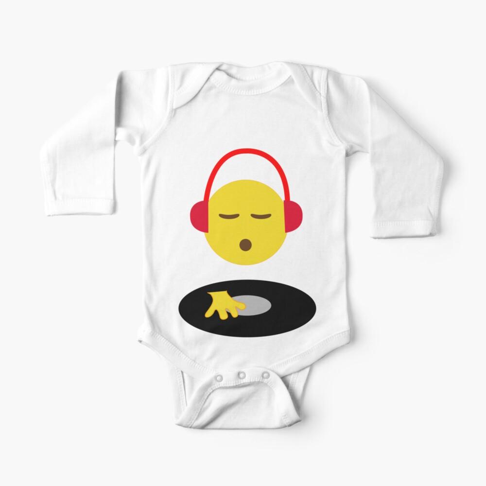 Emoji DJ Disc Jockey Scratch Vinyl Record Turntable Retro Design Baby One-Piece