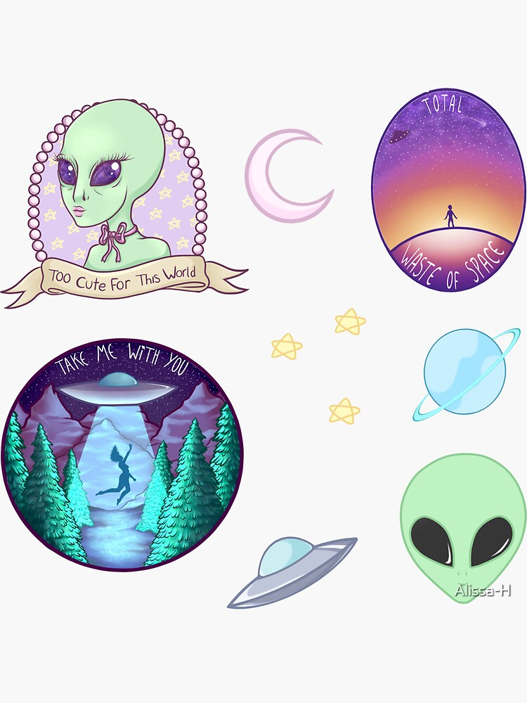 Alien and Space Themed Sticker Pack by Alissa-H