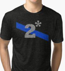 Two Asterisk K9 Officer Thin Blue Line Flag Tri-blend T-Shirt