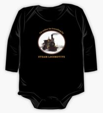 """I'd rather be traveling by STEAM LOCOMOTIVE"" train fan, steam punk retro design One Piece - Long Sleeve"