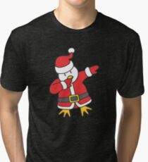 Dabbing Santa Christmas Penguin T Shirt Tri-blend T-Shirt