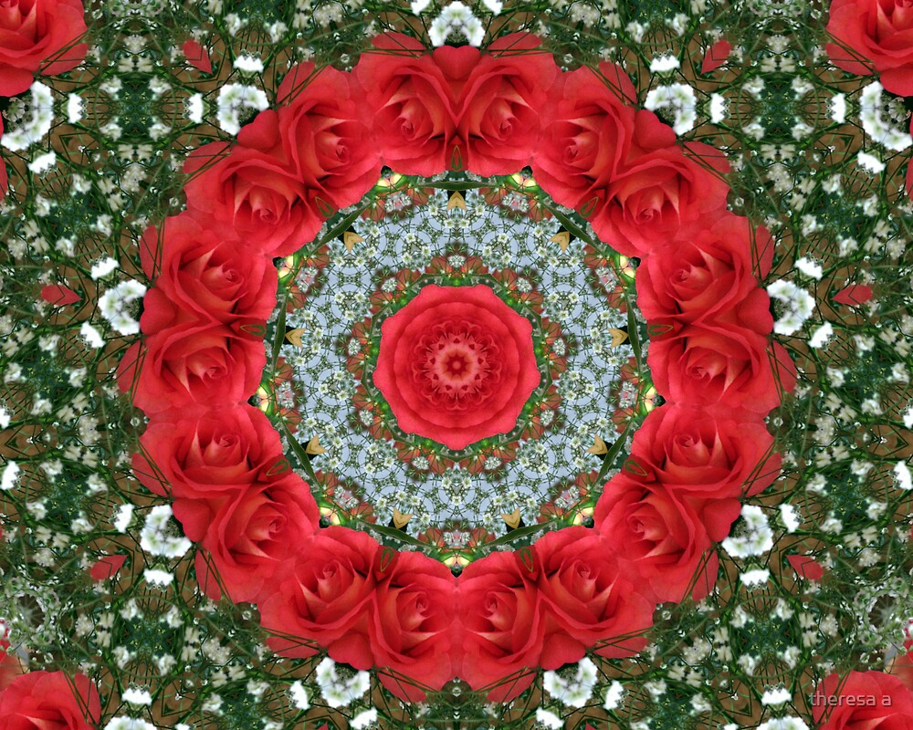 RED ROSE KALEIDOSCOPE 2 by theresa a