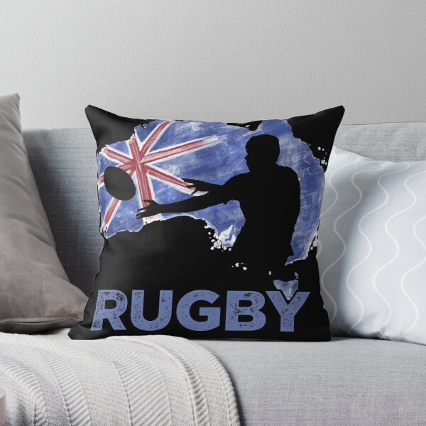 Australia Vintage Rugby Silhouette Player with map and flag Throw Pillow