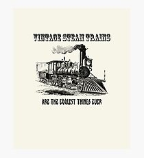 Vintage Steam Trains are the coolest thing ever - retro, fun steam locomotive design Photographic Print
