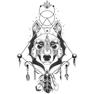 Tribal Wolf Dreamcatcher with feathers by SweetSapling