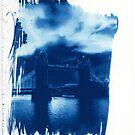 Tower Bridge London Cyanotype Print by William R. Bullock