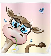 Critterz-Brown Cow - daisy Poster