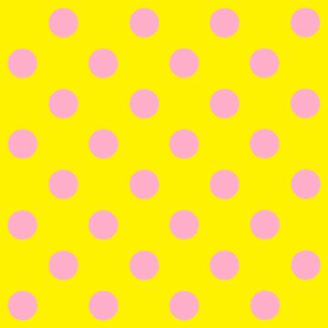 Pink Polka Dot Design on Yellow - Pokerdots by TheCartoonHouse