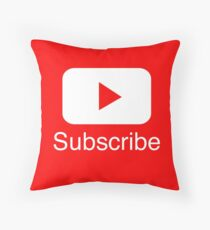 You Tube Subscribe Play Button Videos VLoggers Live Stream Floor Pillow