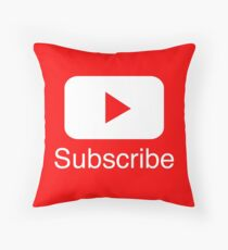 You Tube Subscribe Play Button Videos VLoggers Live Stream Throw Pillow