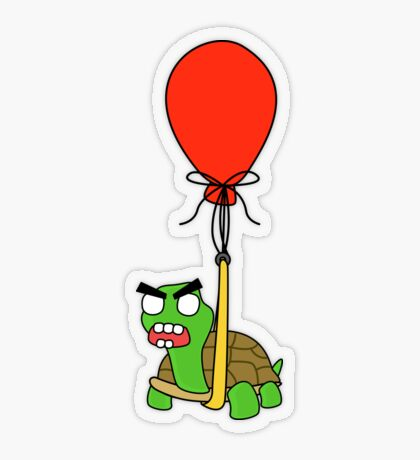 angry zombie turtle on an adventure Transparent Sticker