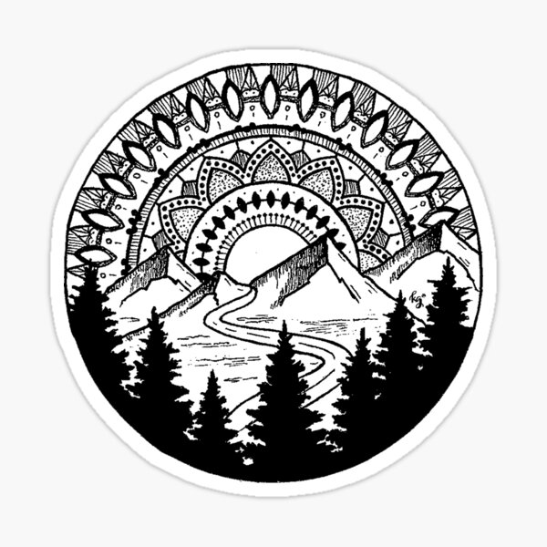 Mandala Mountain Sticker