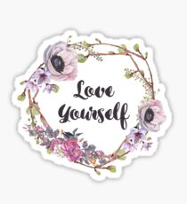 Trendy Boho Floral Hippie Art - Love Yourself - Inspirational Quote Sticker