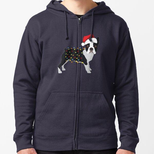 Boston Terrier Holiday Christmas Lights Zipped Hoodie