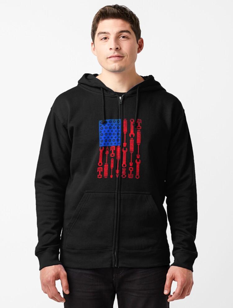 Mechanic American USA Flag Mens Full-Zip Hoodie Jacket Pullover Sweatshirt