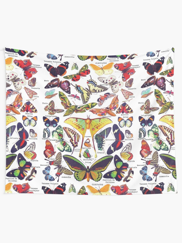Butterflies Realistic And Real Names White Apparel Tapestry By Handcraftline Redbubble