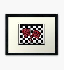 Black and red race flag Framed Print