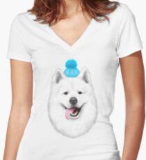 Samoyed  Women's Fitted V-Neck T-Shirt