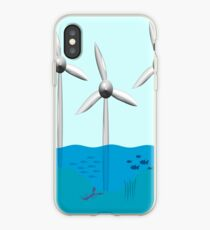 Offshore-Windpark mit Fisch-Baumschule um Basis. iPhone-Hülle & Cover