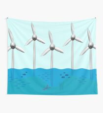 Offshore wind farm with fish nursery around base.  Wall Tapestry