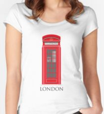 London Telephone Box Women's Fitted Scoop T-Shirt