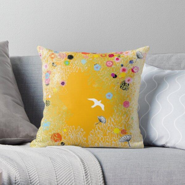 Motif envol fleuri Throw Pillow