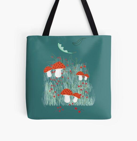 Illustration champignons forêt  All Over Print Tote Bag