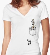 POCKET PANDAS Women's Fitted V-Neck T-Shirt