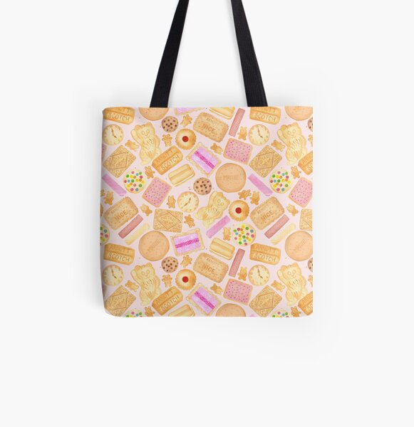Assorted Biscuits - Pink All Over Print Tote Bag
