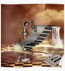 Cute girl dancing on a piano on the beach Poster
