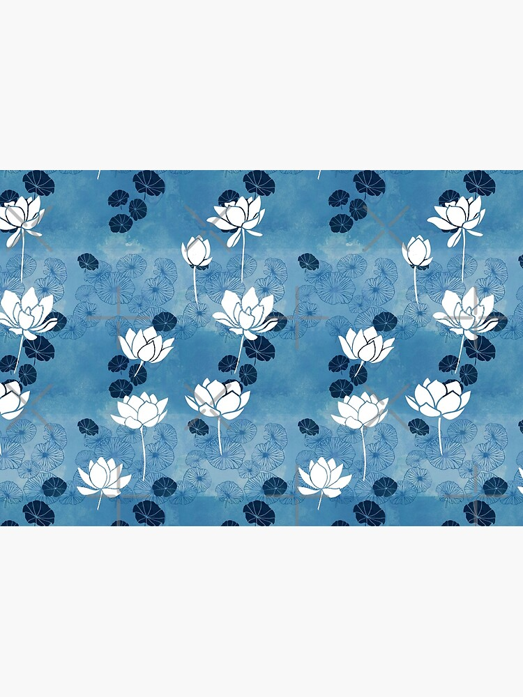 Pure zen waterlily pattern in blue and white by adenaJ