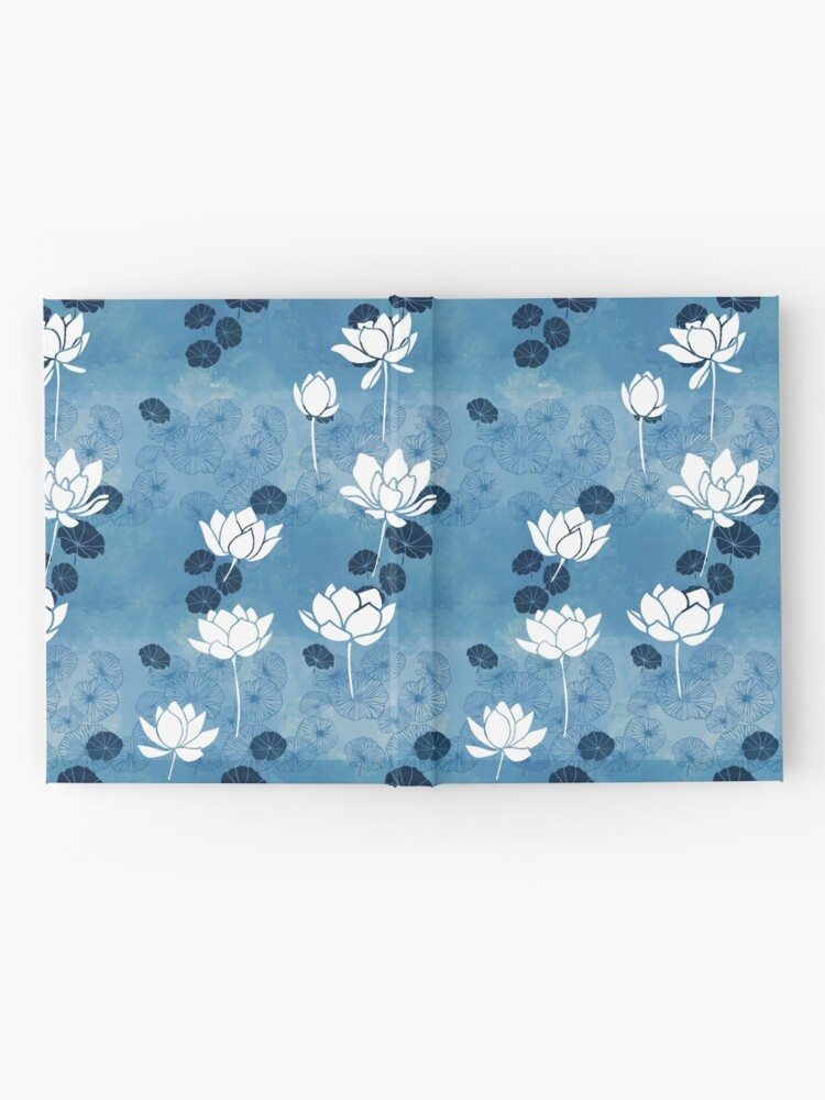 Alternate view of Pure zen waterlily pattern in blue and white Hardcover Journal
