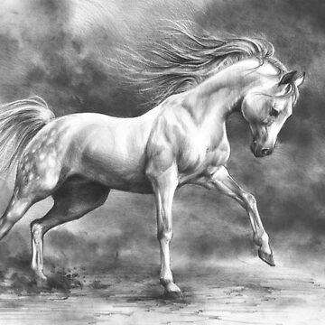 Running white horse - equine art by kkmiecikart