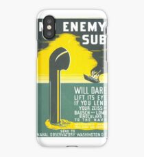 """. """"No enemy sub will dare lift its eye if you lend your Zeiss…"""" Silkscreen. Print by WPA. iPhone Case/Skin"""
